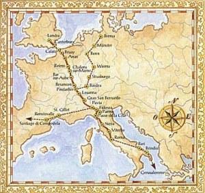 Mappa della Via Francigena attraverso l'Europa - Immagine: laviafrancigena.net